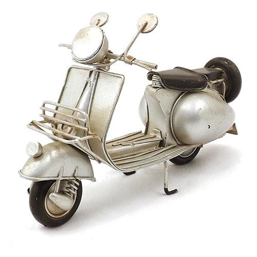 Miniatura de Motocicleta Prata - Em Metal - 18x16 cm