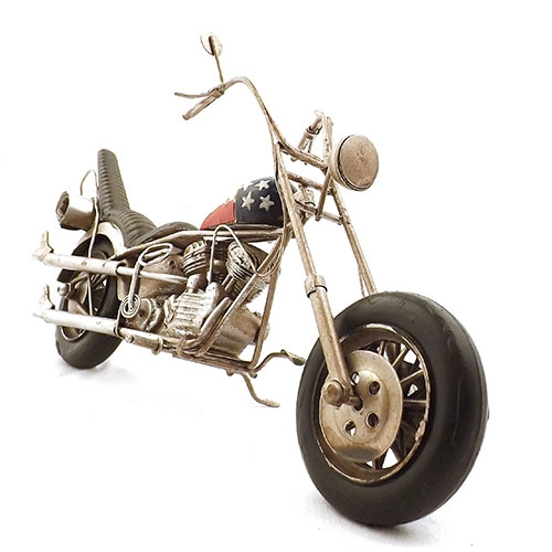 Miniatura de Motocicleta Tanque Bandeira USA - Oldway - Em Metal - 31x25 cm