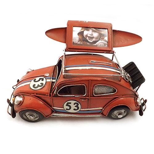 Miniatura / Porta Retrato / Cofre Fusca Vermelho Oldway - Em Metal - 27x15 cm