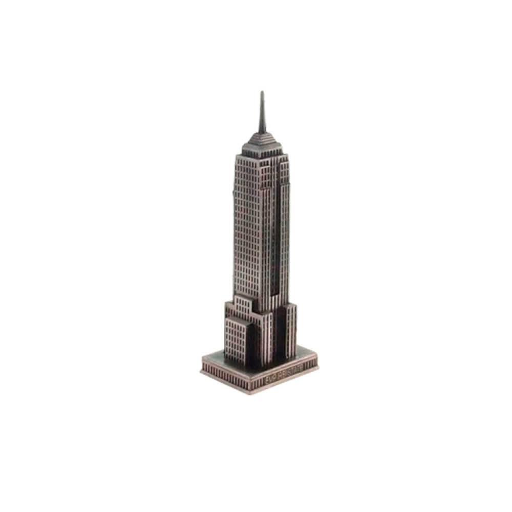 Miniatura Prédio Empire State Prata em Metal - 18x6 cm