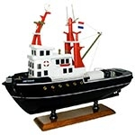 Miniatura de Rebocador Amsterdam Grande em Madeira - 44x38x14 cm