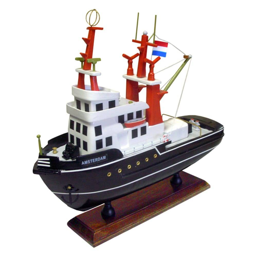 Miniatura de Rebocador Amsterdam Médio Preto em Madeira - 32x29x10 cm