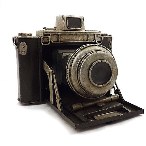 Miniatura / Réplica de Câmera Fotográfica Antiga Preta / Prata - Em Metal - 20x18 cm