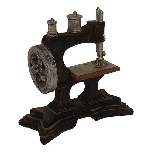 Miniatura Réplica Máquina de Costura Alta em Resina - 19x18 cm