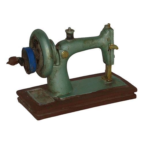Miniatura Réplica Máquina de Costura Verde em Resina - 13x10 cm