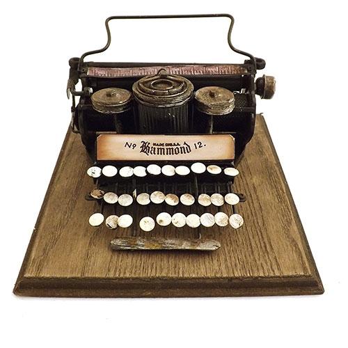 Miniatura / Réplica de Máquina de Escrever Antiga Oldway - Madeira / Ferro - 20x9 cm