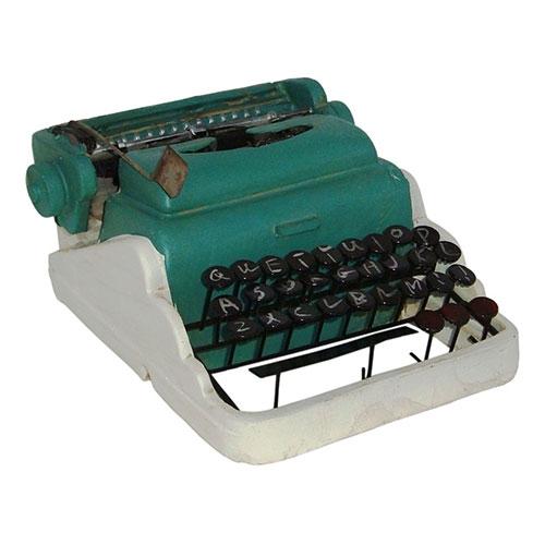Miniatura Réplica Máquina de Escrever Branco/Verde em Resina - 18x9 cm