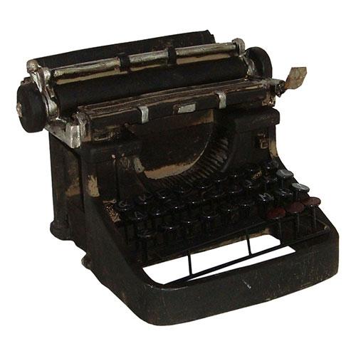 Miniatura Réplica Máquina de Escrever Preto em Resina - 19x12 cm