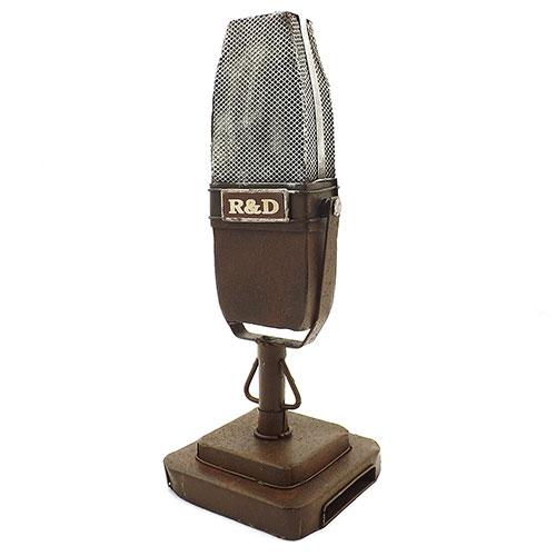 Miniatura / Réplica de Microfone de Mesa Retrô - Em Metal - 9x25 cm