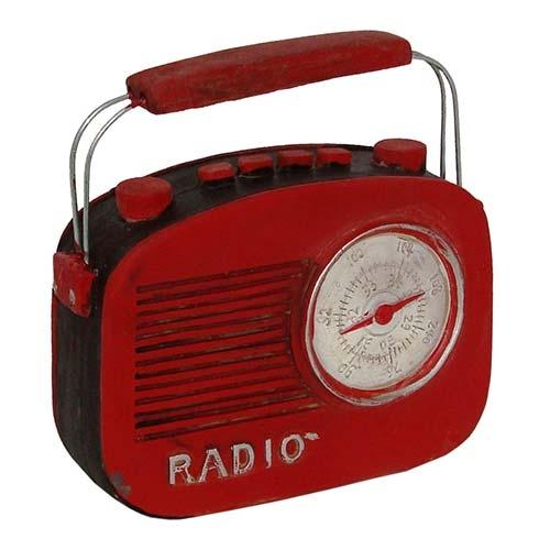 Miniatura Réplica Rádio Vermelho em Resina - 14x13 cm