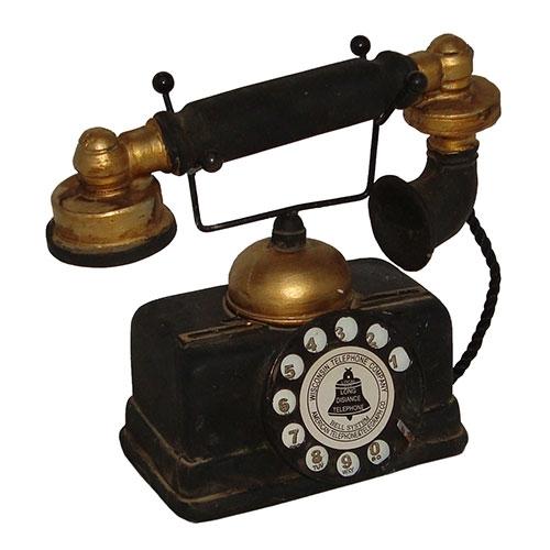 Miniatura Réplica Telefone 1935 Preto em Resina - 18x17 cm