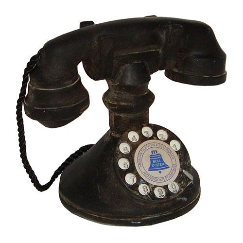 Miniatura Réplica Telefone 1940 Preto em Resina - 18x15 cm
