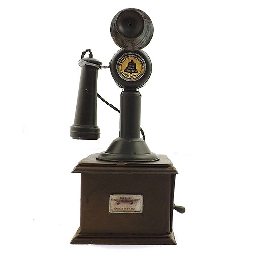 Miniatura / Réplica de Telefone Retrô Base Quadrada Oldway - Em Metal - 11x25 cm