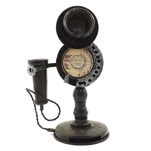 Miniatura / Réplica de Telefone Retrô Disco Base Redonda Oldway - Em Metal - 17x24 cm