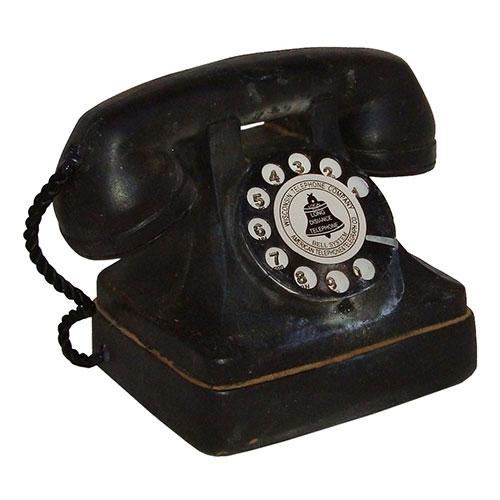 Miniatura Réplica Telefone Retrô Preto em Resina - 14x13 cm