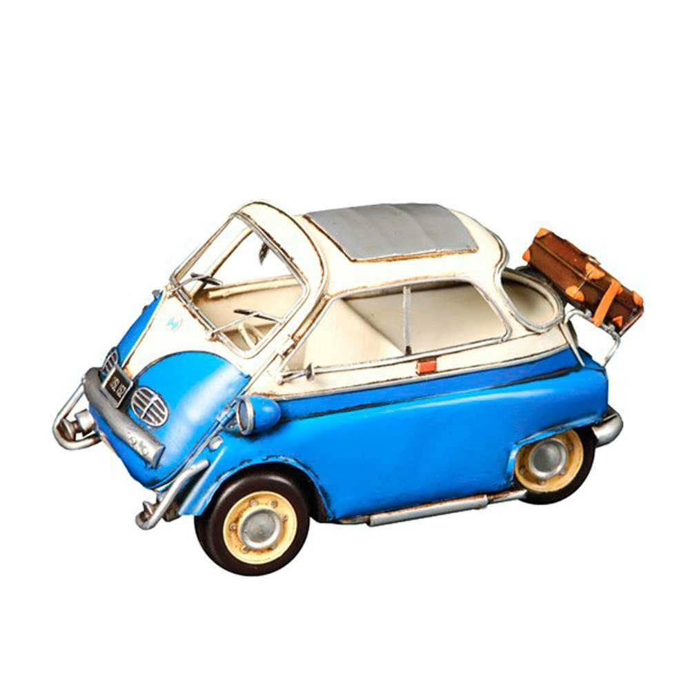 Miniatura Romizetta Azul e Branca em Metal - 25x13 cm