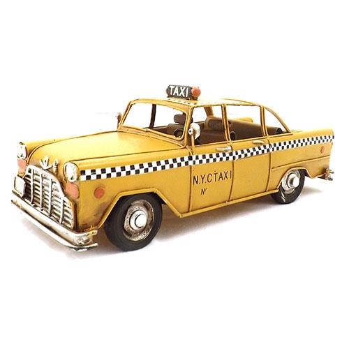 Miniatura de Taxi Amarelo - Em Metal - 26x10 cm
