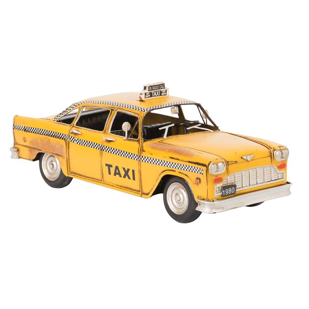Miniatura de Táxi Modelo 1980 Yellow Checker New York Taxi em Ferro - 30x15 cm