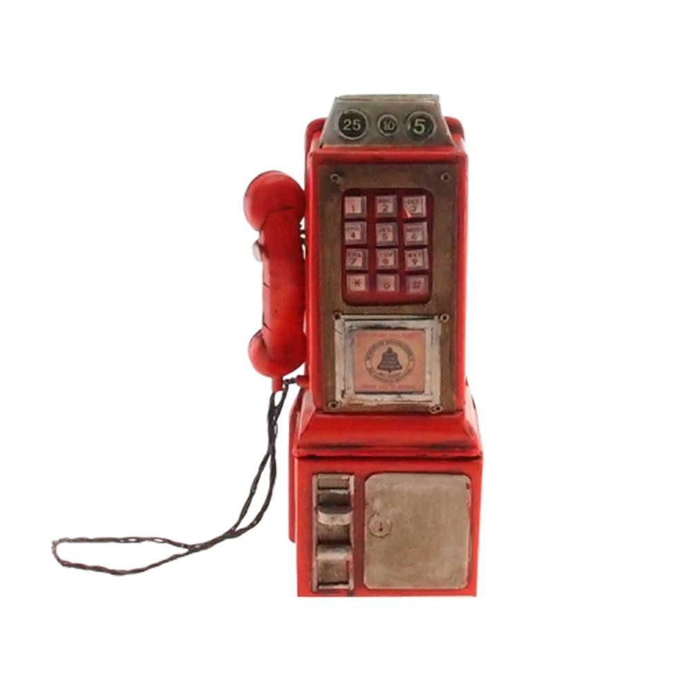 Miniatura de Telefone Vintage Vermelho em Metal - 25x10 cm