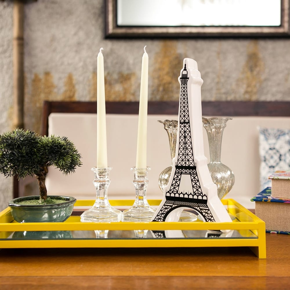 Miniatura Torre Eiffel Branco/Preto em Cerâmica - 31x5 cm