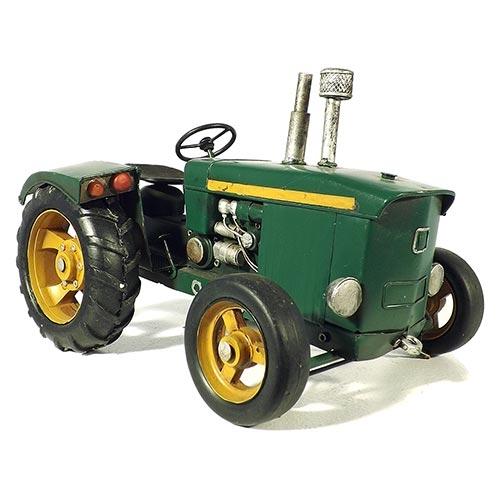 Miniatura Trator Verde Oldway Grande em Metal - 33x22cm
