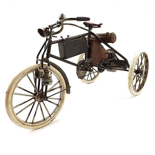 Miniatura de Triciclo Preto/Marrom Oldway - Alforges e Motor - 33x18cm