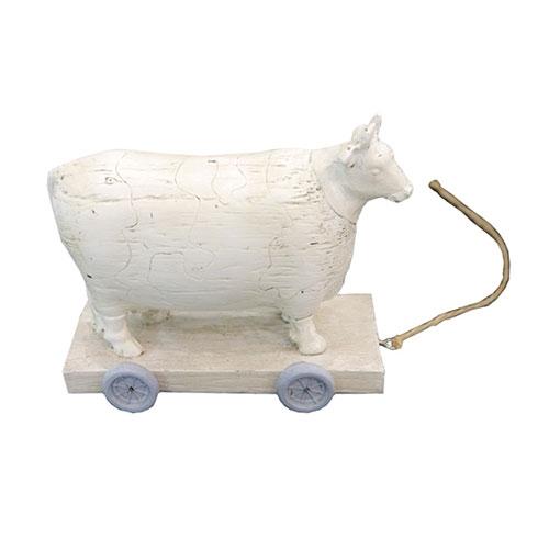 Miniatura de Vaca em Resina e Corda - 13x11 cm