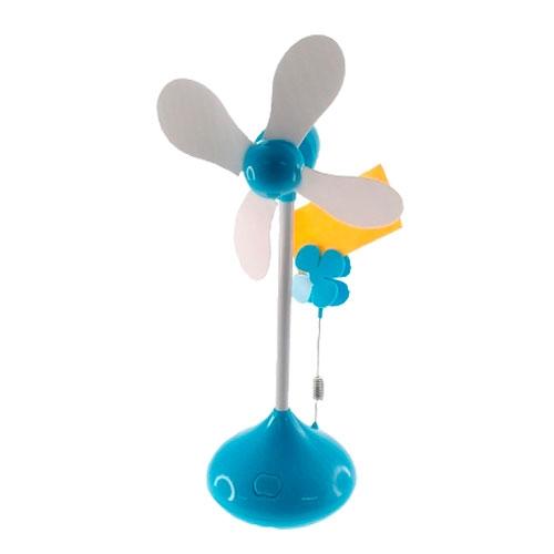 Miniatura Ventilador Flor Azul com Porta Foto - 27x10 cm