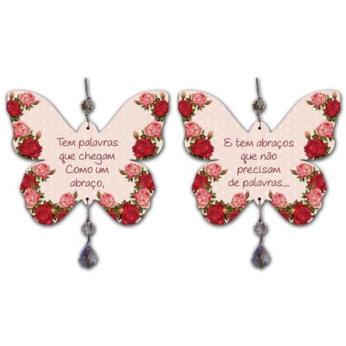 Móbile Borboleta Rosas em MDF - 17x14 cm