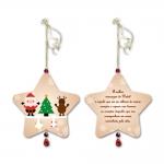 Móbile Estrela A Melhor Mensagem de Natal Bege em MDF - 14x13 cm