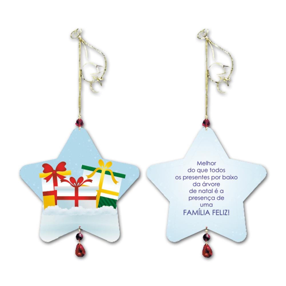 Móbile Estrela A Presença de Uma Família Feliz em MDF - 14x13 cm