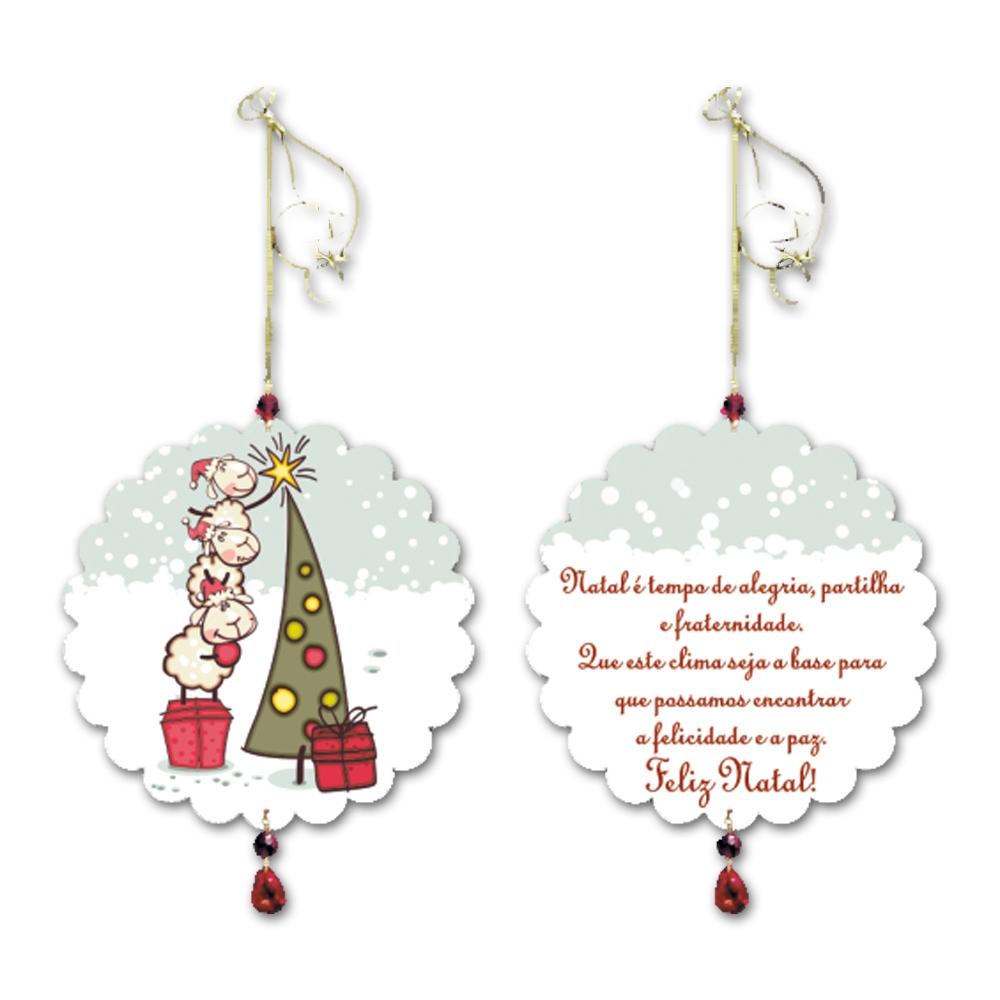 Móbile Redondo O Clima do Natal Branco em MDF - 13 cm