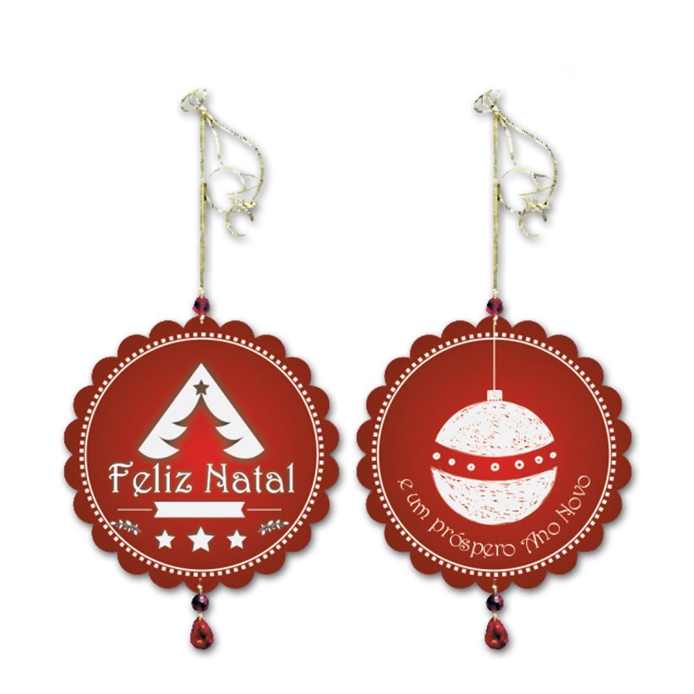 Móbile Redondo Feliz Natal Vermelho e Branco em MDF - 13 cm
