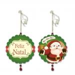 Móbile Redondo Papai Noel Anunciando o Natal em MDF - 13 cm