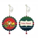 Móbile Redondo Presentes de Natal Verde em MDF - 13 cm
