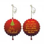 Móbile Redondo Que o Natal Seja como Um Jardim Vermelho em MDF - 13 cm