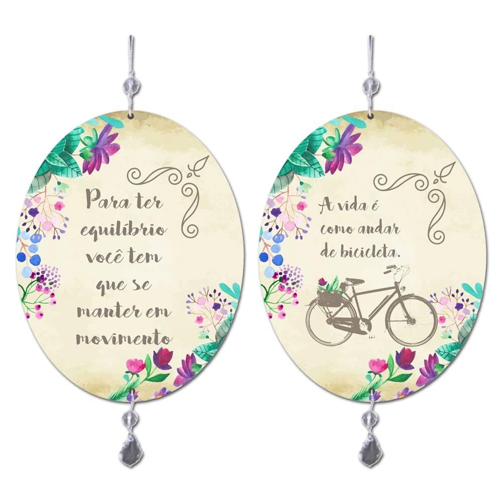 Móbile A Vida é como Andar de Bicicleta em MDF - 13,5x10,5 cm