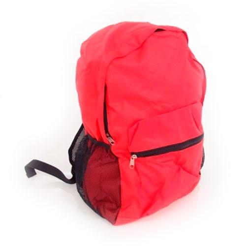 Mochila Dobrável Vermelha em Nylon - 43x32 cm
