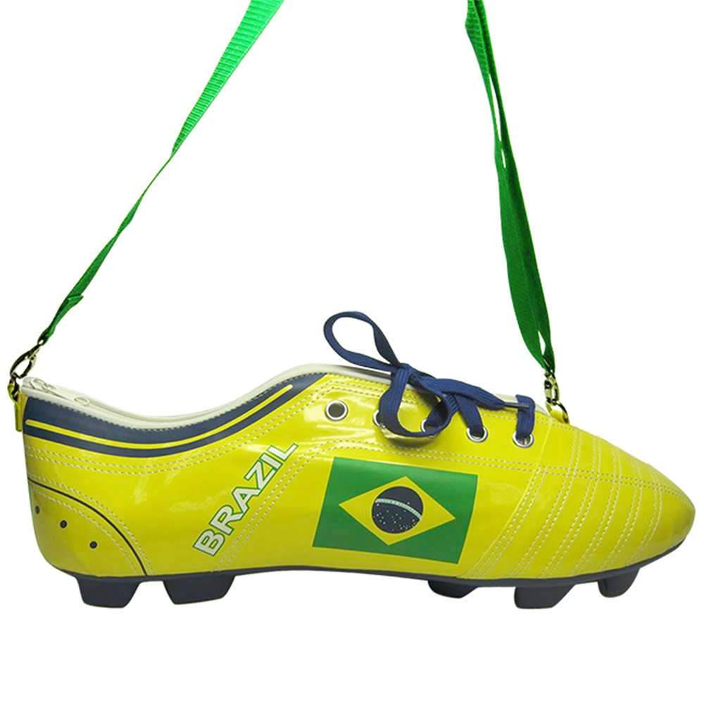 Mochila Football Boot Brasil Amarela em PU - Urban - 41,5x14,5 cm
