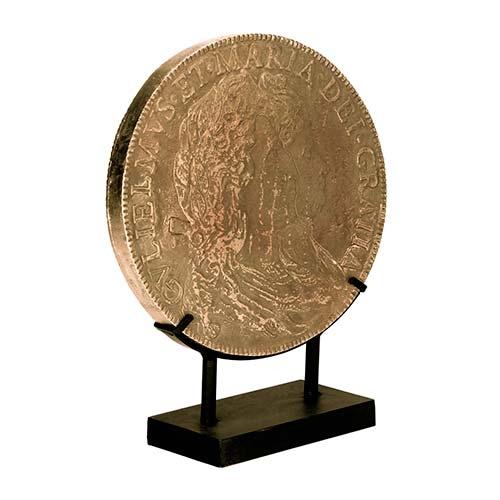 Moeda Antiga Decorativa com Suporte de Metal - 33x26 cm