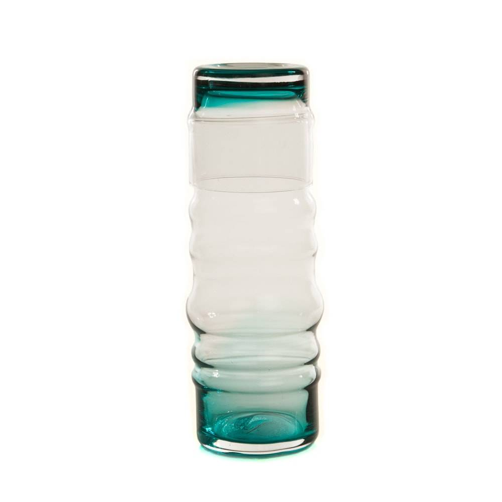 Moringa Deca Curvilínea Turquesa/Transparente em Vidro - 26x10 cm
