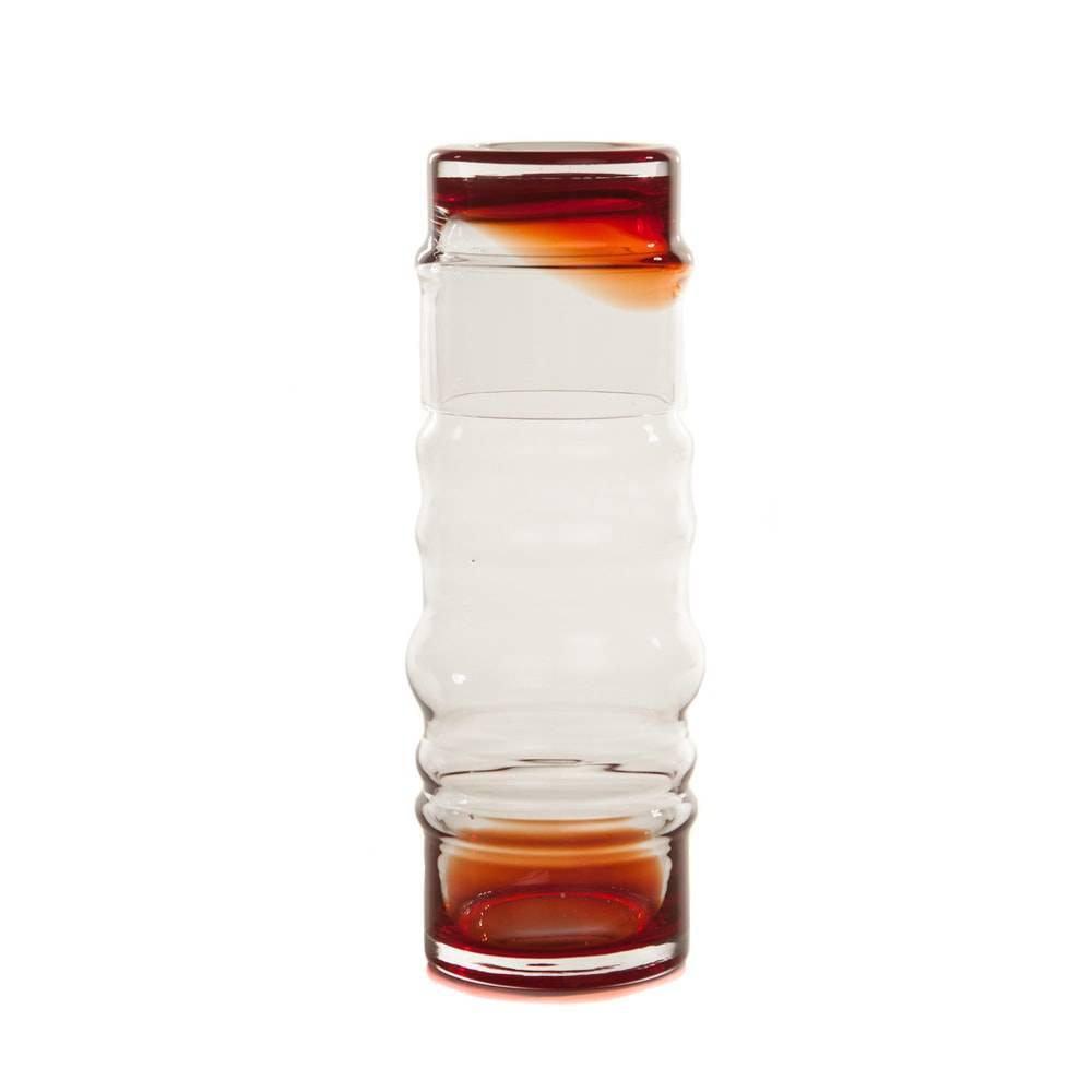 Moringa Deca Curvilínea Vermelho/Transparente em Vidro - 26x10 cm