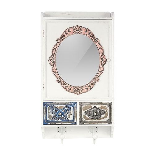 Móvel para Parede Colorido com Espelho Oldway - 73x41 cm