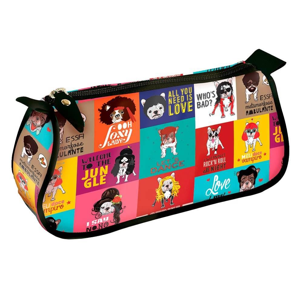 Necessaire Básica Monsters of Dog - Carpe Diem - Colorida em Tecido Oxford - 24x11 cm