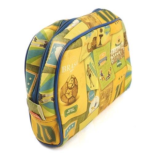 Necessaire Brasil do Futebol - Carpe Diem - Amarela em Couro - 26x18 cm