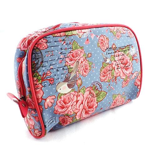 Necessaire Cartas para Mary - Carpe Diem - Azul e Rosa em Couro - 26x18 cm