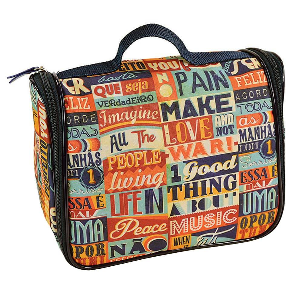 Necessaire Ganchinho Make Love - Carpe Diem - Colorida em Nylon Resinado - 25x21 cm