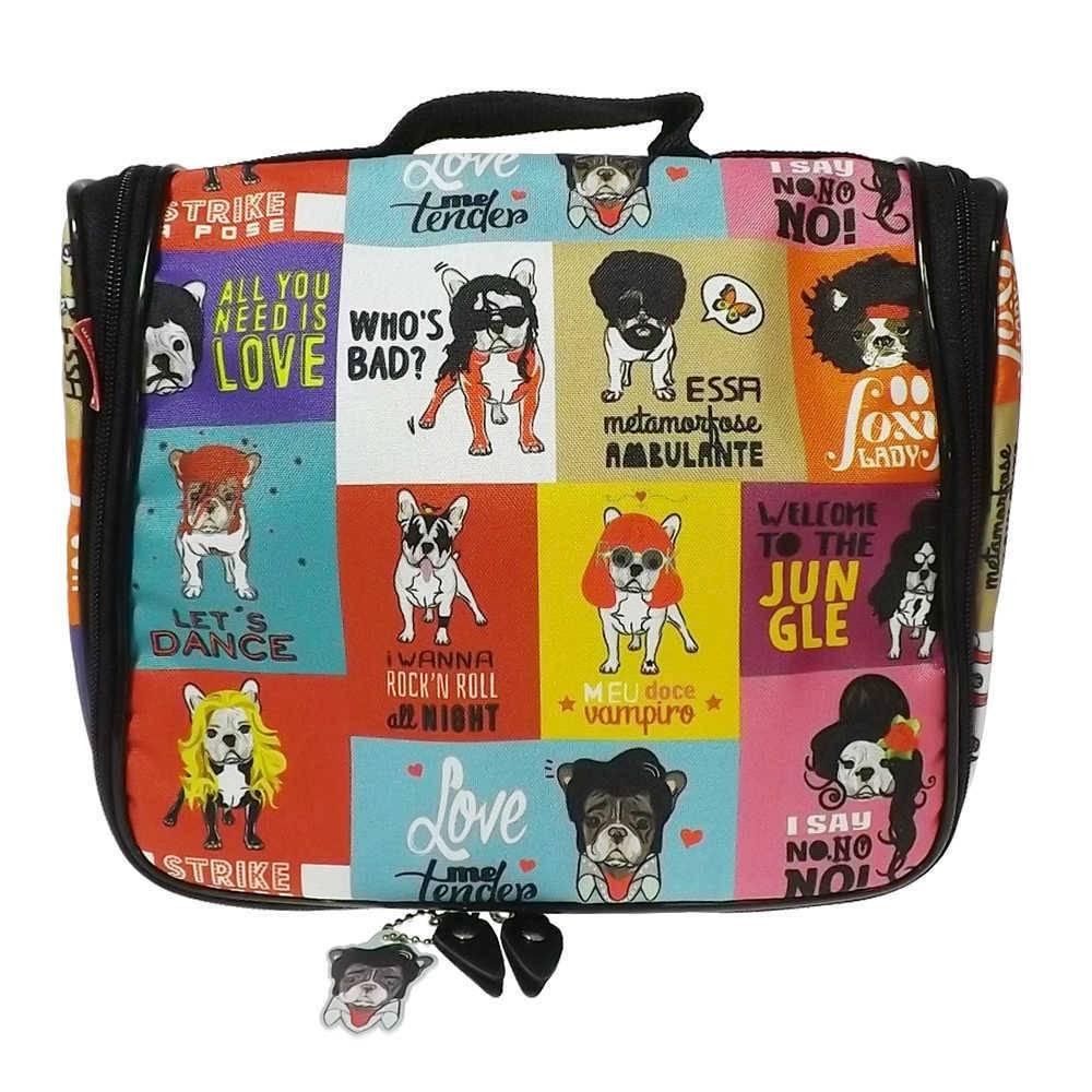 Necessaire Ganchinho Monsters of Dog - Carpe Diem - Colorido em Nylon Resinado - 25x21 cm