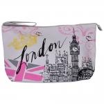 Necessaire London Big Ben Branco em Courino - 30x24 cm