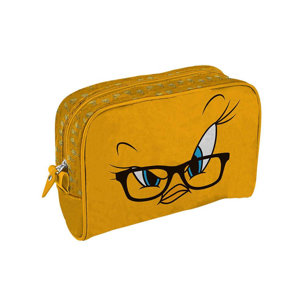 Necessaire Looney Tunes Tweety Big Face Amarela em PU - Urban - 23,5x17 cm